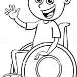 Niño en silla de ruedas para colorear
